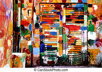 colours in Lerici - multi coloured wall and windows in...