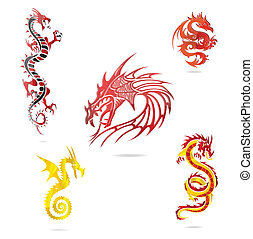 asia colored dragons sign set isolated on the white