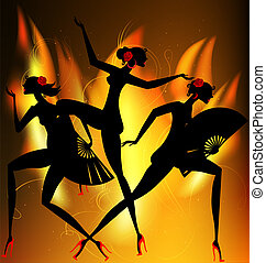 flaming dance - in the red flame are three abstract black...