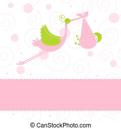 Baby arrival card - Baby girl arrival announcement card