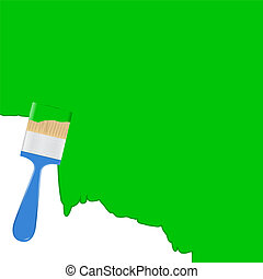 Vector green background with blue paintbrush