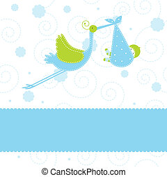 Baby arrival card - Baby boy arrival announcement card