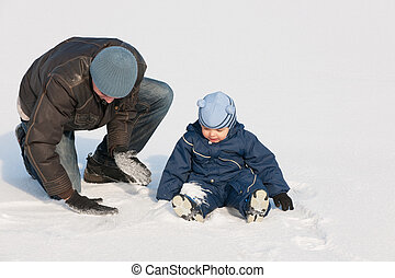 Discovering snow with dad