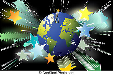 World popularity - Artistic background with globe and stars