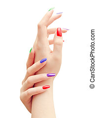 Hands - woman hands with multicolored nails against the...