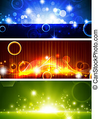 Bright banners with shining stars - Bright multicolored...