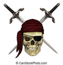 Pirate Skull with Daggers - A pirate skull with crossed...