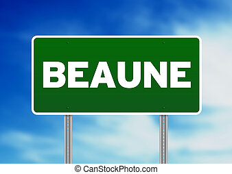 Green Road Sign -  Beaune, France