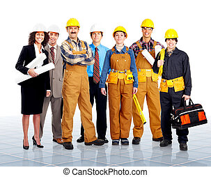Workers - Group of contractors people in uniform Worker...