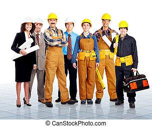 Workers. - Group of contractors people in uniform. Worker....