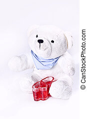 Teddy Bear Love - White teddy bear with heart shaped red...