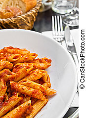 Italian meat sauce noodles on the table