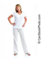 Senior woman. - Senior smiling woman. Isolated over white...