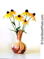 Vase of Blackeyed Susans - Multi-colored southwestern vase...