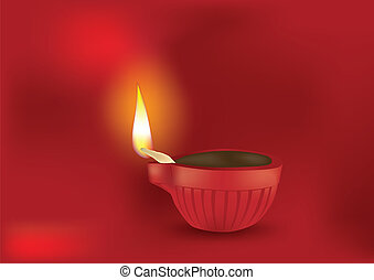 Diwali Diya Vector Illustration - Diwali Diya in Red...