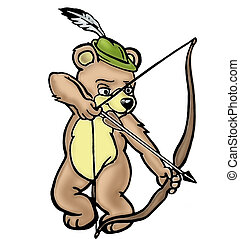 Bear archer - a little bear shooting with a bow over white