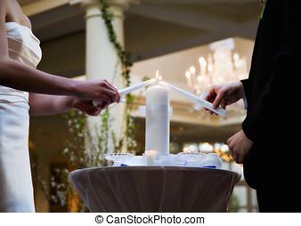 Couple lighting Wedding Unity Candle - Bride and Groom...