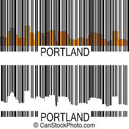 Portland barcode - City of Portland barcode with high-rise...