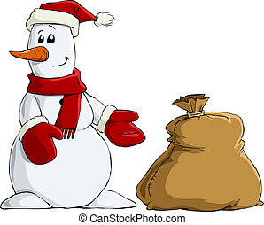 Snowman with a bag of gifts, vector