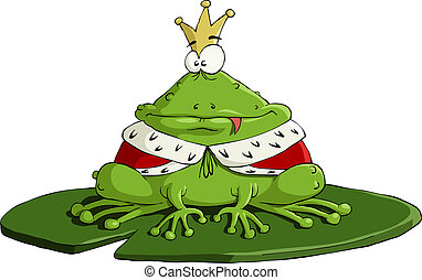Frog - The frog king on a white background, vector