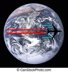 global travel by plane depicted over earth