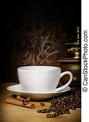 cup of coffe - hot cup of coffe, winnower, grains and...