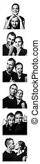 black and white photo booth series of funny couple