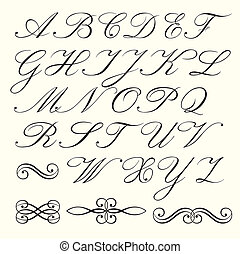Script alphabet - Hand drawn script alphabet and...