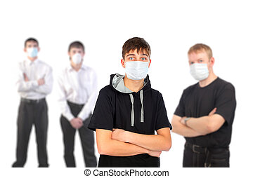 people in the mask - people in the flu mask isolated on...