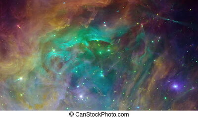 Flying into a coloful nebula