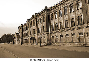 View of the street in Kronstadt. Sepia. - View of the street...
