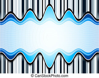 Sound waves over stripes bluish background