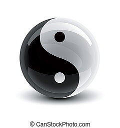 Yin and Yang ball - Yin and Yang symbol on a glossy ball