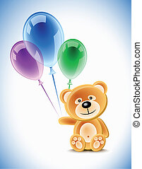 Teddybear and balloons - Teddybear holding transparent...