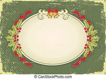 Vintage Christmas card with holiday elements for design -...