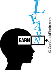 Person silhouette learn to earn education - Person learns to...
