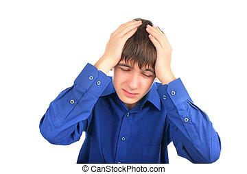 headache - The teenager has a headache attack