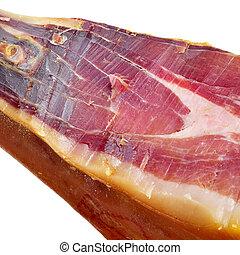 serrano ham - closeup of a leg of spanish serrano ham