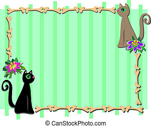 Frame with Cat Friends and Flowers