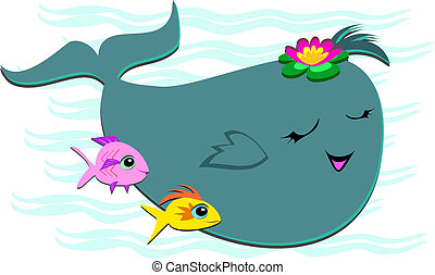 Happy Whale with 2 Fish Friends