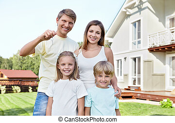 Purchase - Families with children with the keys in the...