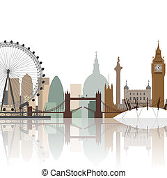 London Cityscape - A Cityscape of London with Reflection in...