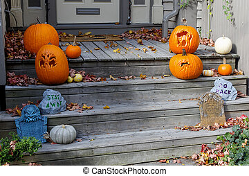Halloween Decorations on the front Steps - Assorted...