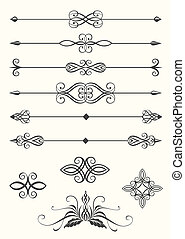 Line dividers - Collection of line dividers and calligraphic...