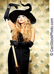 coquette witch - Charming halloween witch with broom over...