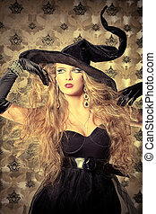 elegant witch - Charming halloween witch over vintage...