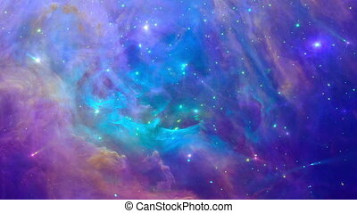 Zoom in colorful nebula - Space background with young stars...