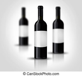 Red wine bottles with label - 3 Red wine bottles with label...