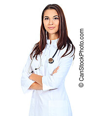 nurse - Portrait of a beautiful woman doctor. Isolated over...