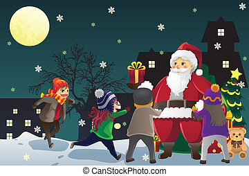 Santa Claus giving out Christmas presents to kids - A vector...